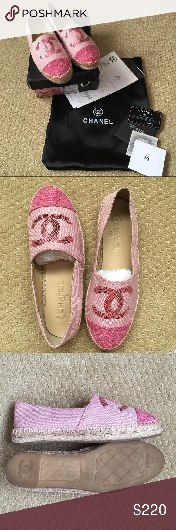 Chanel Espadrille PLEASE READ CAREFULLY** Chanel espadrille pink sequin. Used once. Size 37 fits size 6 comfortably, 24cm insole. Very clean. RFS:  I wear a size 7 but this shoe fits me a little tight but can be tried to stretch a little more or constantly use it. Chanel sizes runs small. AUTHENTIC GRADE. Comparable with the original chanel.Price reflects.Can provide closer photos.Wouldnt sell this if it fits fine love this espadrilles! 😻 for more inquiries or photos message me or email me…