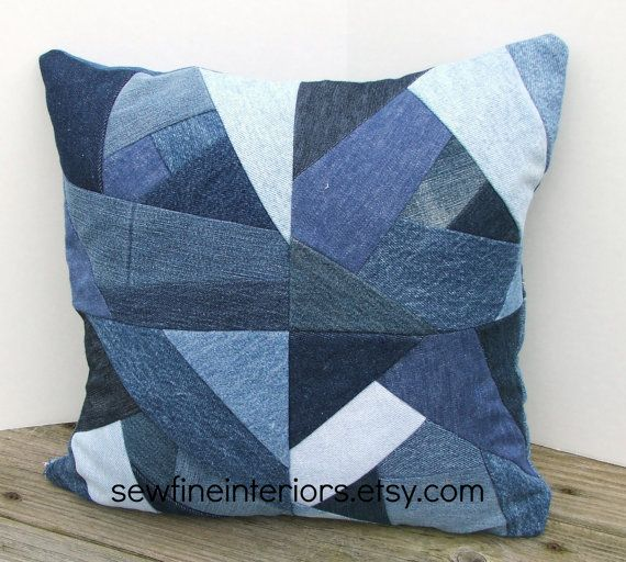 Crazy quilt jean pillow cover--OOAK