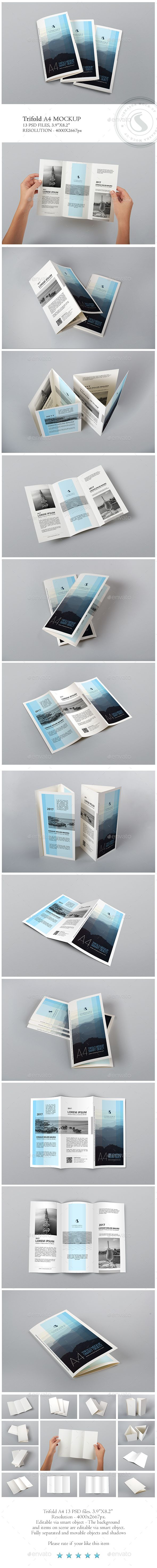 A4 Trifold Mockup by Cobraska A4 Trifold Mockup Features: 13 PSD presentation, 3.9×8.2� Easy and Fast editing via Smart Object, Changeable background via Smart