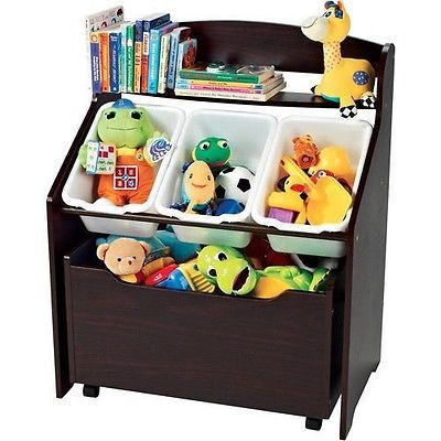 Toy Chest Treasure Storage Toddler Kids Baby Espresso Wood Containers Organizer