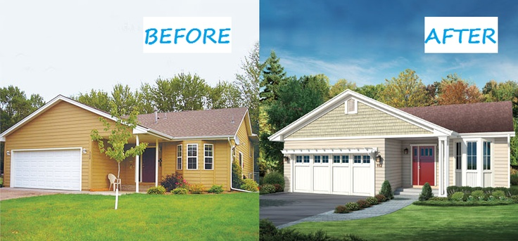 Photoshop redo sprucing up a basic split level small for How to add curb appeal to a ranch style house