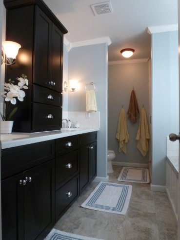 thought I wanted to paint vanity black but maybe not Black Bathroom Vanity
