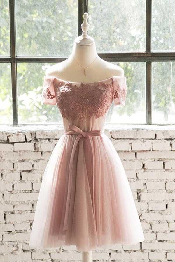 0bbb2a98ae2 Off The Shoulder Pink Lace Tulle Short Prom Dress Homecoming Dress PD200
