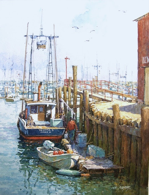 Ian Ramsay Watercolors: Harbor, Ilwaco, Washington