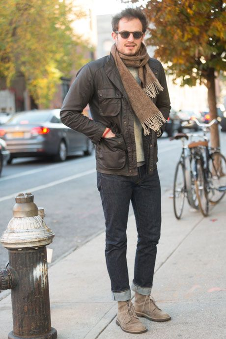 Street Style Brown Suede Clarks And Classic Rrl Denim Brown Suede Clarks And Brown