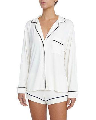 Gisele+Long-Sleeve+Short+Pajama+Set+by+Eberjey+at+Neiman+Marcus.
