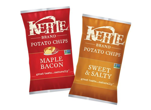 Our friends at #KettleBrand have released two new #chip flavors: Maple #Bacon and #Sweet & #Salty. Repin if you're just as excited as we are! #packaging #design #MOD
