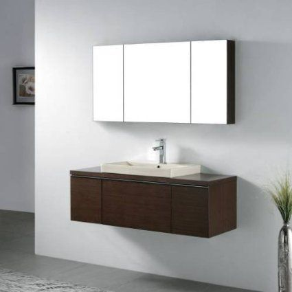 """Venasca 48"""" Wall Mount Bathroom Vanity Set in Walnut Finish and Overflow: White Ceramic with Overflow"""