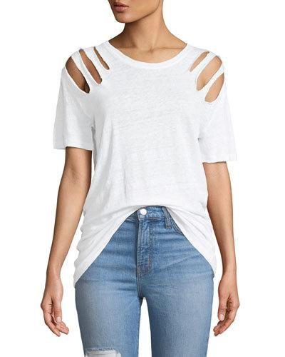70e34237467 TWNN2 Iro Miffres V-Neck Cold-Shoulder Linen Top Top Sales, Trendy Tops