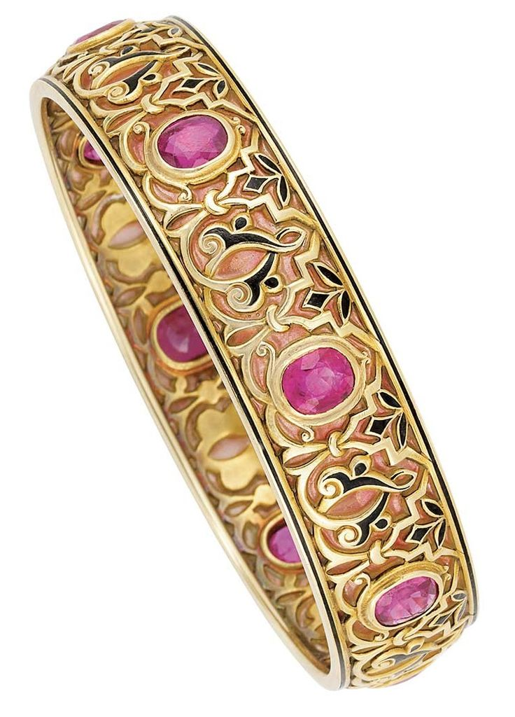 Ruby, plique-à-jour enamel, enamel and gold bracelet, by Marcus & Co, circa 1900.