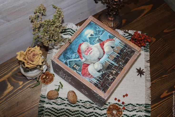"""Купить Шкатулка """"С рождеством"""" - голубой, шкатулка декупаж, шкатулка ручной работы, шкатулка для мелочей"""