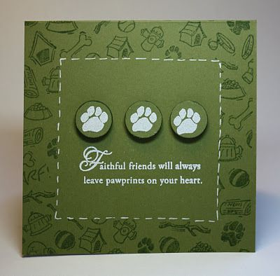 Clean And Simple Dog Sympathy Card...with pawprints...Jennifer Woodward: Thimbles, Bobbins, Paper and Ink.