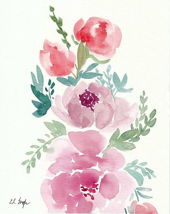 Floral Wall Art Watercolor Flowers Original Watercolor Painting