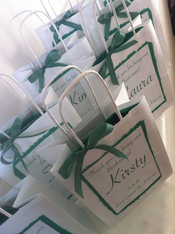 Personalised Gift Bags Handmade To Order Thank You For Being Our Bridesmaid Flower