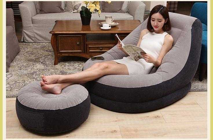 Adulti 290 cm gonfiabile pelle scamosciata del faux di arte divano letto.  Singolo contratta e contemporanea pisolino.  Divano pigro