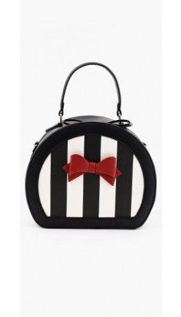 Lola Ramona Black & Ivory Stripe Odette Pillar Handbag