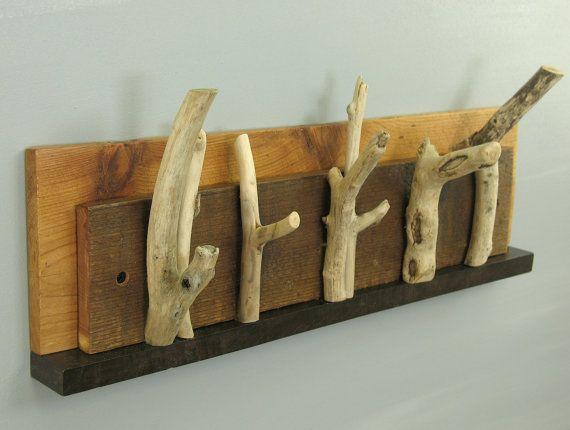 Sculptural driftwood key holder, drift wood wall mounted coat rack; modern rustic mail organizer for keys, mail, pencils, pens; Six hooks