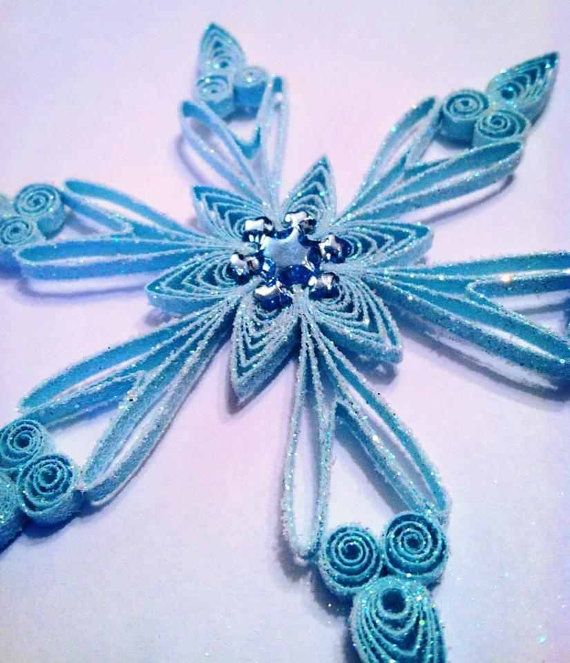 Quilled GORGEOUS SPARKLING Blue SNOWFLAKE with gem