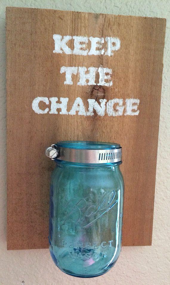 Laundry room mason jar change holder by for Mason jar holder ideas