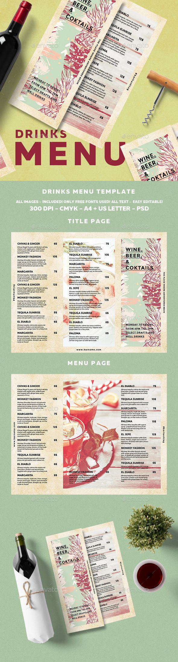 Cocktail Drinks Menu Template PSD. Download here: https://graphicriver.net/item/cocktail-drinks-menu/17299227?ref=ksioks