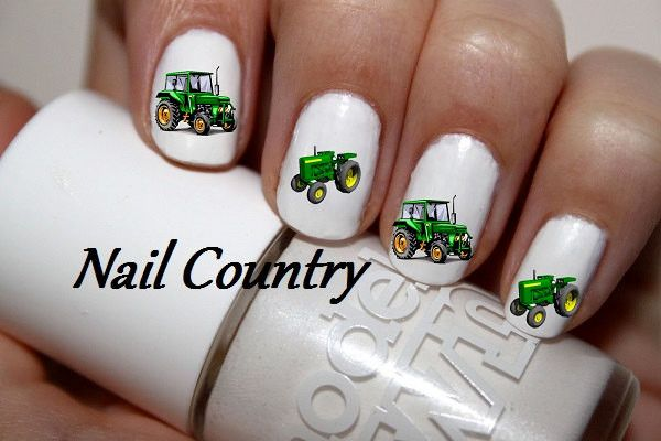 50pc Country Tractor John Deere Green Tractor Nail Decals Nail Art Nail Stickers Best Price NC69