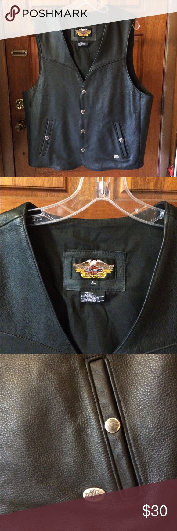 Men's Harley-Davidson Vest XL This genuine leather Harley-Davidson Vest is in Excellent condition. It has 4 snaps down the front. 2 outside pockets and an inside pocket. Size is XL, measurement in inches: Shoulder to shoulder: 16.75 Neck to Hem(on the back of vest): 24 Harley-Davidson Jackets & Coats Vests