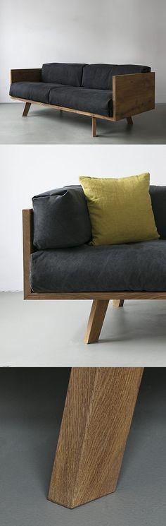 NUTSANDWOODS – Oak Linen Sofa