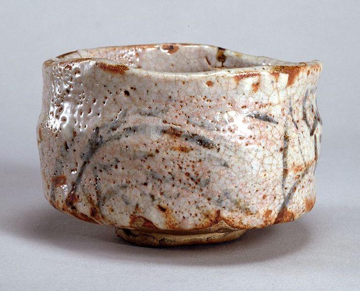 """Shino Style Tea Bowl - """"Furisode"""". Circa 16th to 17th Century."""