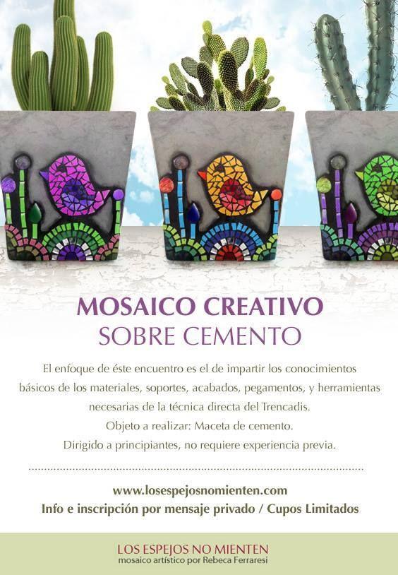 LOS ESPEJOS NO MIENTEN. Mosaico Artistico por Rebeca Ferraresi. Mosaic on cement flower pot.