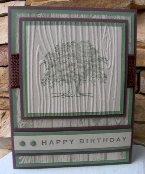 masculine Lovely as a Tree card by calmag.... I like how the image was stamped first, then embossed.... (change sentiment)