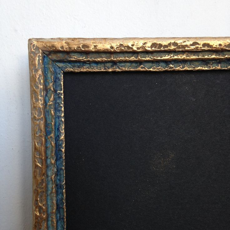 Vintage Carved Wood Frame, Distressed, 1940s Frame, Shabby Chic, Rustic Finish, Gold and Midnight Blue Finish, MorseCodeVintage by MorseCodeVintage on Etsy