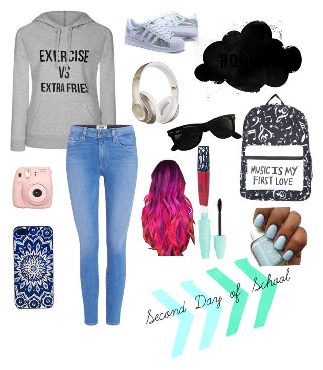 """""""Second Day of School"""" by disneyoutfits22 ❤ liked on Polyvore featuring Ally Fashion, Paige Denim, Fujifilm, Beats by Dr. Dre, Ray-Ban and The Lip Bar"""