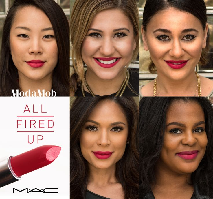 "MAC's ""All Fired Up"" lipstick on different skin tones"