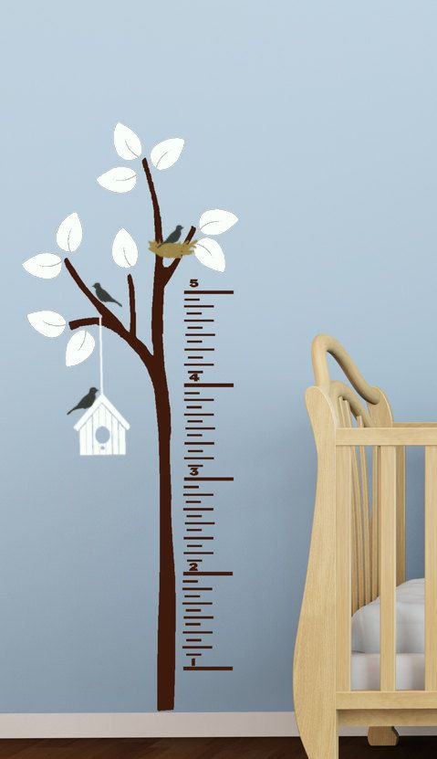 Kids Growth Chart Decal Children Decor for bedroom, playroom, Nursery vinyl wall art Tree with Birds