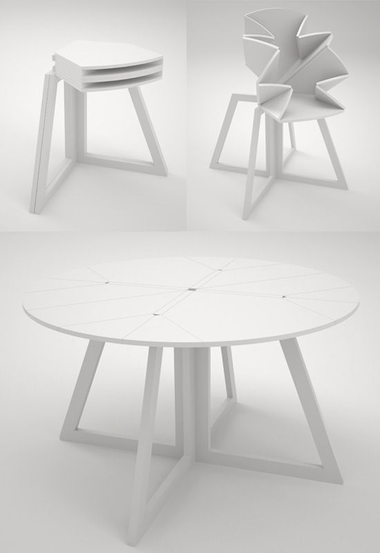 table that folds out like an origami flower from space-saving ...