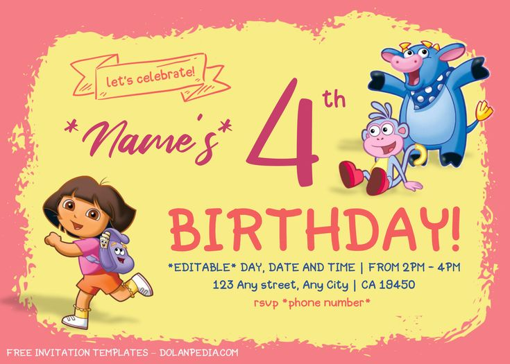 Dora The Explorer Birthday Invitation Templates Editable With Microsoft Word In 2020 Birthday Invitation Templates Invitation Template Free Invitation Templates