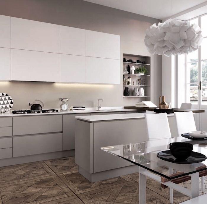uisine contemporaine grise avec bar, déco cuisine gris et blanc ...
