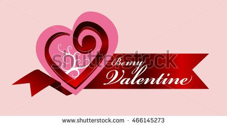 Be my valentine  logo with pink heart symbol and red ribbon