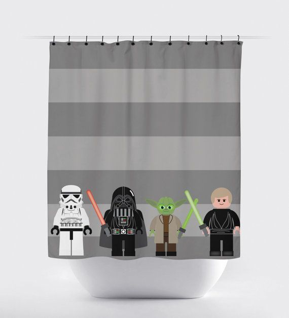 Star Wars Shower Curtain. How cute is this for the bathroom?