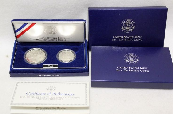 1993 Bill of Rights 90% Silver 2 Coin Madison Proof Silver Dollar Half Set  #US #silver #coin #commemorative #bill #of #rights