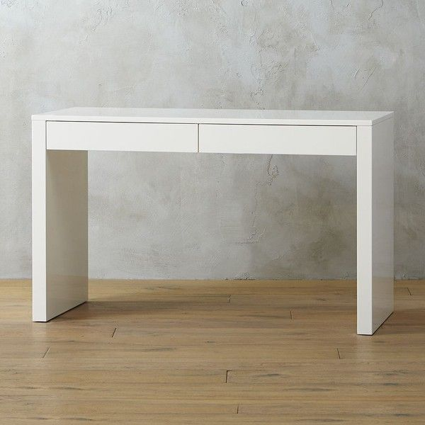CB2 Runway Desk ($399) ❤ liked on Polyvore featuring home, furniture, desks, lacquer desk, key furniture, lacquer furniture, white gloss desk and cb2