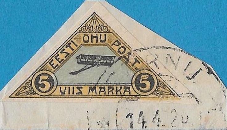 + 1920 Estonia Republic Plane Air Mail Post Bob #C1 AP1 5M Imperf.Margins used
