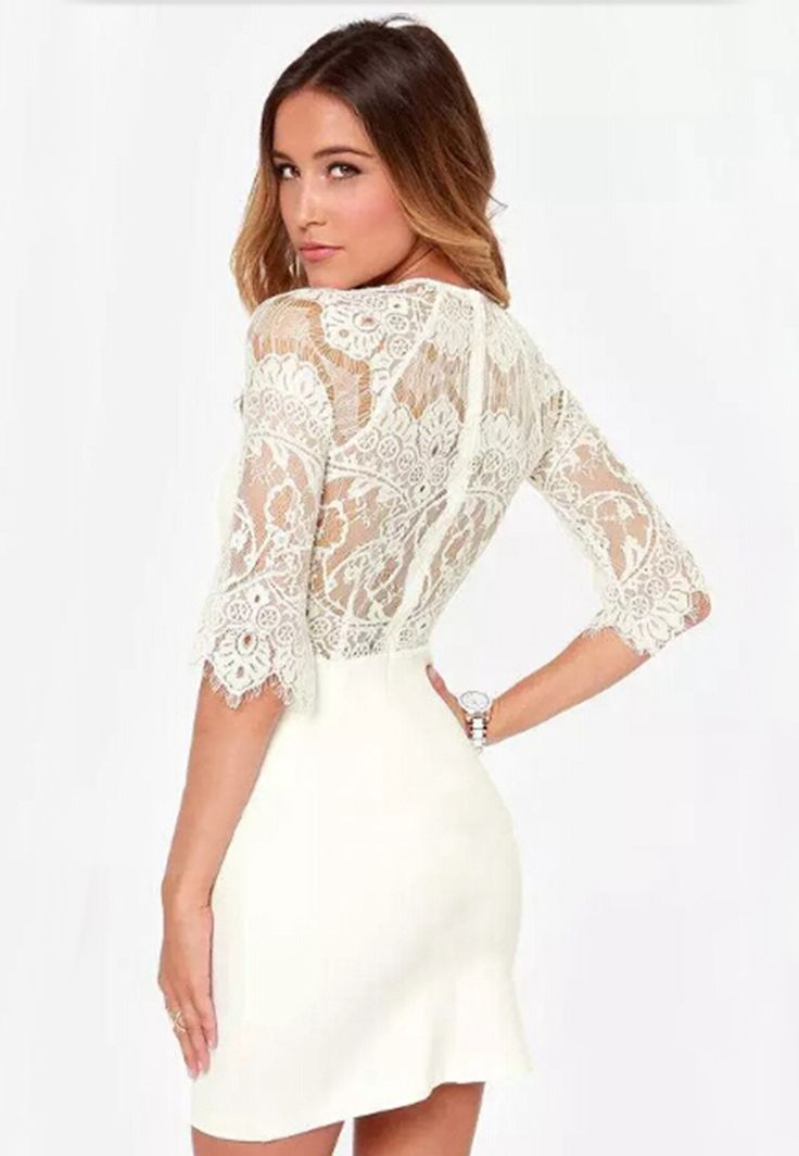 White Half Sleeve Lace Bodycon Dress - Fashion Clothing, Latest Street Fashion At Abaday.com