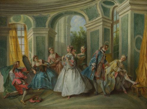 """The Four Ages of Man: Youth"" by Nicolas Lancret (1735) at the National Gallery, London - From the curators' comments: ""A girl pulling on a stocking at the right is attended by a young man standing by her. The centre of attention in the room is another girl bedecked in flowers who admires herself in a mirror. This is the second in a series of four canvases by Lancret (all in the Collection) which represent the Four Ages of Man - 'Childhood', 'Youth', 'Maturity', and 'Old Age'."""