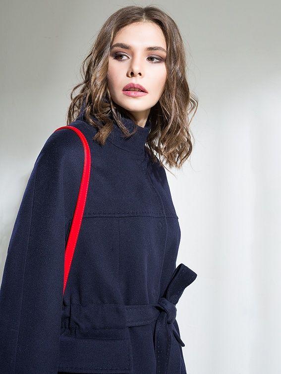 Пальто женское демисезонное цвет темно-синий, Пальтовая ткань, артикул 1016980p10068