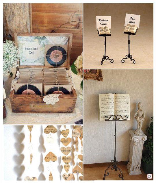mariage musique marque place lutrin cadeaux disque vinyl menu sur lutrin