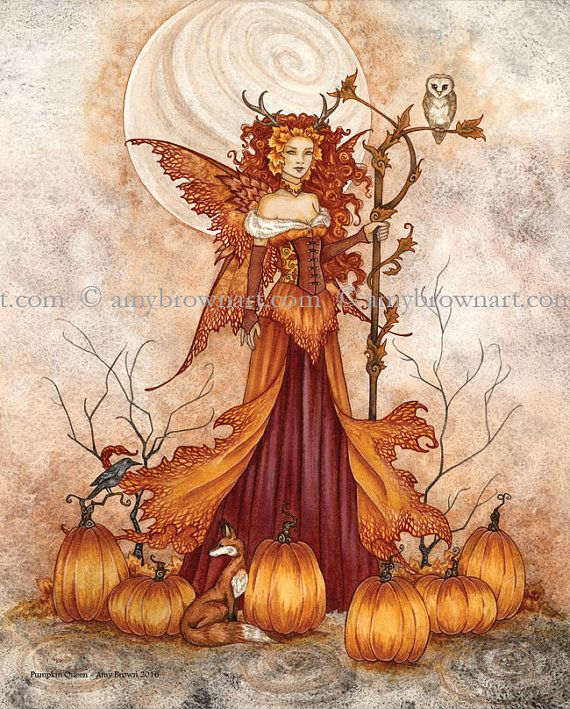 Pumpkin Queen autumn fall fairy 8X10 PRINT by Amy Brown