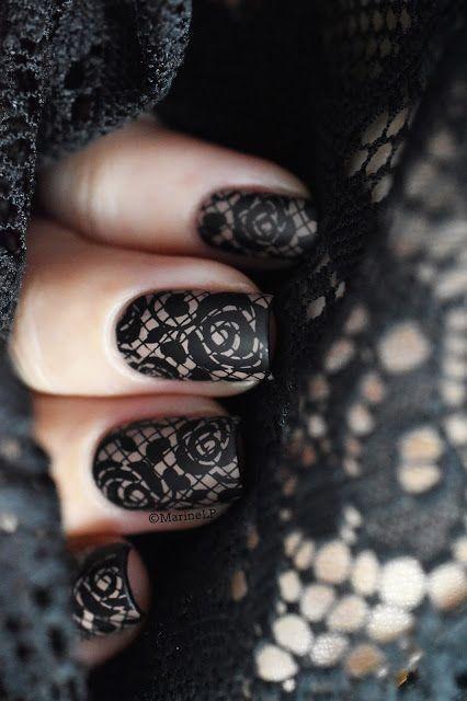 lace nail art design | 2017 | black | gothic | matte | rose | short square | gel polish