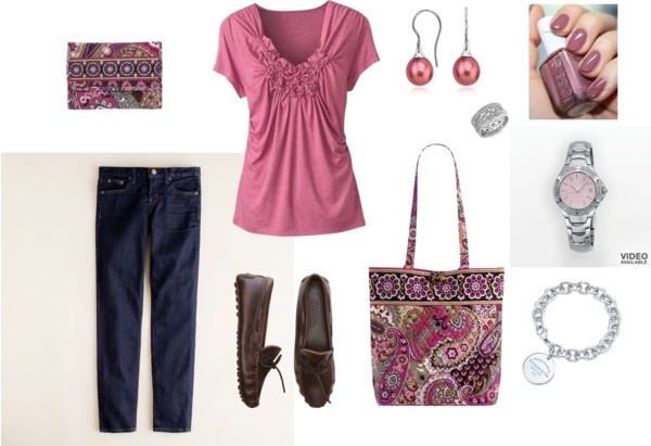 """""""Comfy with Mauve Tshirt and Very Berry Paisley VB"""" by zbunny on Polyvore"""
