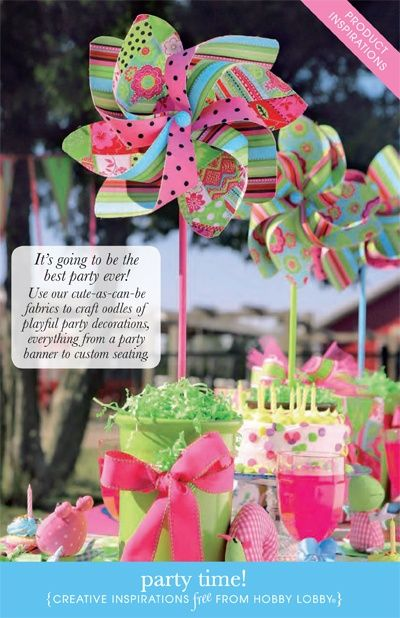 DIY party decorations I would put flowers with the pinwheel